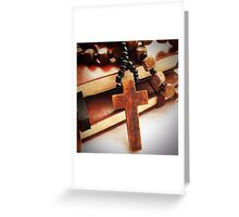 Wooden Cross and Rosary Greeting Card