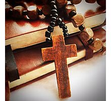 Wooden Cross and Rosary Photographic Print