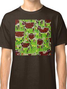 Texas Longhorn Herd Cattle Western Steer Bulls Ranch Rancher Fun Happy Design Green Brown Classic T-Shirt