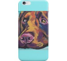 Chocolate Labrador Retriever Dog Bright colorful pop dog art iPhone Case/Skin