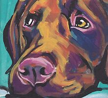 Chocolate Labrador Retriever Dog Bright colorful pop dog art by bentnotbroken11