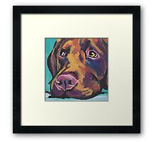 Chocolate Labrador Retriever Dog Bright colorful pop dog art Framed Print
