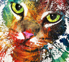 Colorful Cat Art by Sharon Cummings Sticker