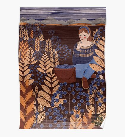 berry field girl forest nature Poster