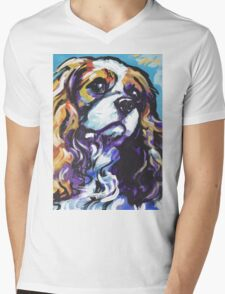 cavalier king charles spaniel Dog Bright colorful pop dog art Mens V-Neck T-Shirt