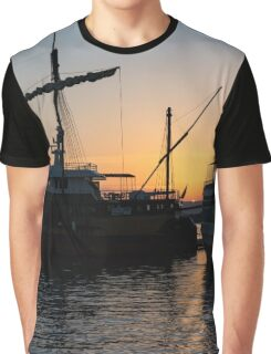 Just a Sliver of the Sun - Antique Tourist Boats in Syracuse Sicily Graphic T-Shirt