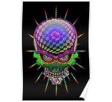 Crazy Skull Psychedelic Explosion Poster