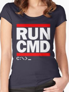 RUN CMD C:\>_ Women's Fitted Scoop T-Shirt