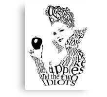 The Evil Queen - Calligram - color WHITE Canvas Print