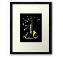 Bankski – Yellow Lines Skier Framed Print