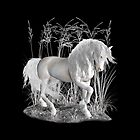White Stallion on Black, tote, pillow case by LoneAngel