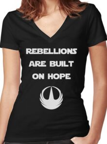 Star Wars Rogue One - Rebellions are built on hope Women's Fitted V-Neck T-Shirt