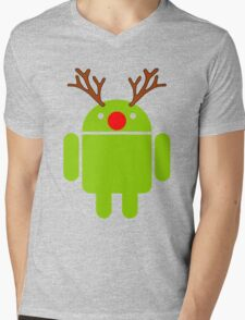Red Nosed Android Robot Mens V-Neck T-Shirt