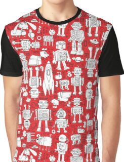Robot Pattern - Red and White Graphic T-Shirt
