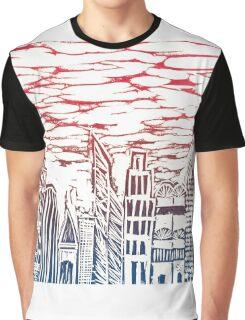 Cityscape linocut - red-blue Graphic T-Shirt