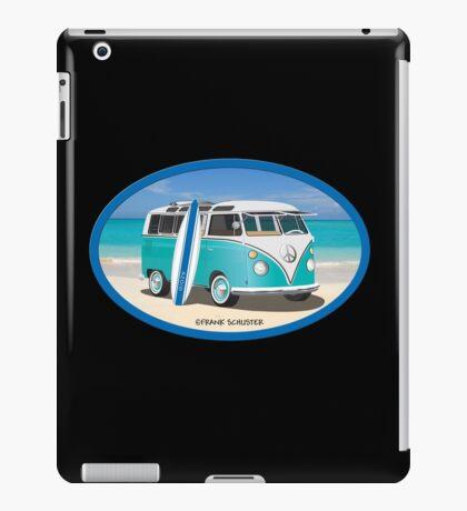 Split Window VW Bus Surfer Hippie Van on Beach Oval iPad Case/Skin
