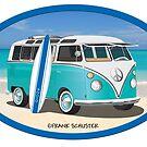 Split Window VW Bus Surfer Hippie Van on Beach Oval by Frank Schuster