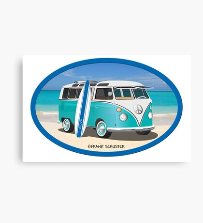 Split Window VW Bus Surfer Hippie Van on Beach Oval Canvas Print