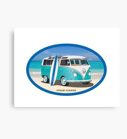 Hippie Split Window VW Bus Teal & Surfboard Oval at Beach Canvas Print