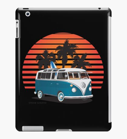 Hippie VW Split Bus Teal with Surfboard, Palmes & Sunset iPad Case/Skin