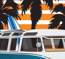 Hippie VW Split Bus Teal with Surfboard, Palmes & Sunset Sticker