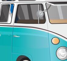 Hippie Split VW Bus Teal & Surfboard Peace Sticker