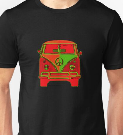 Hippie VW Bus Red & Green Psychodelic  Unisex T-Shirt