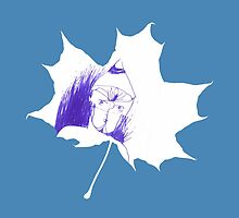 Blue child in a maple leaf by Bingoball