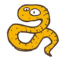 Funny sketchy cartoon snake Photographic Print