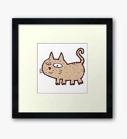 Funny cute cartoon cat Framed Print