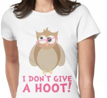 Funny Owl - I Dont Give a Hoot T Shirt Womens Fitted T-Shirt