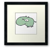 Funny cartoon hippo Framed Print