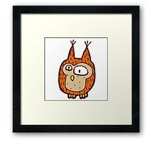 Cute funny little owl Framed Print