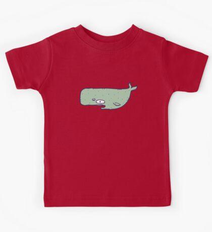 Cute sketchy cartoon blue whale Kids Tee