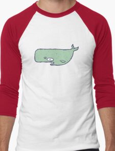 Cute sketchy cartoon blue whale Men's Baseball ¾ T-Shirt