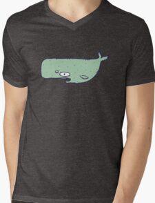 Cute sketchy cartoon blue whale Mens V-Neck T-Shirt