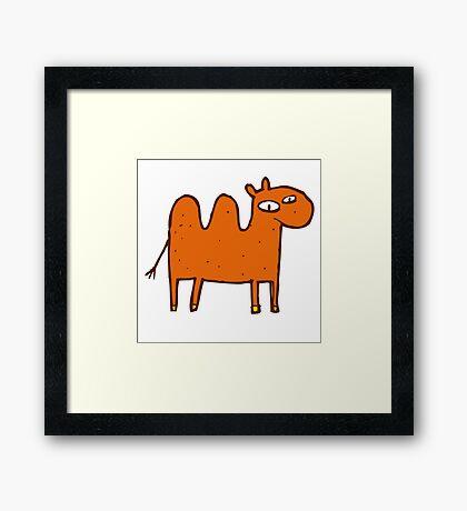 Cute funny cartoon Bactrian camel Framed Print