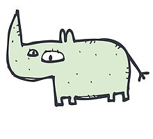 Funny cute cartoon rhinoceros by berlinrob