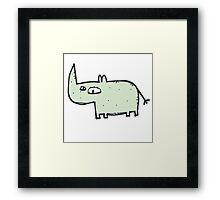 Funny cute cartoon rhinoceros Framed Print