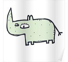 Funny cute cartoon rhinoceros Poster