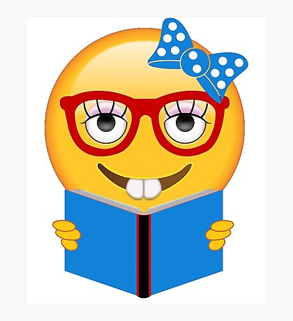 Bookworm Emoji Reading a Book Photographic Print