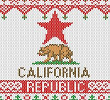 California Republic Bear on Christmas Ugly Sweater by Garaga