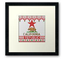 California Republic Bear on Christmas Ugly Sweater Framed Print