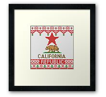 California Republic Bear on Christmas Ugly Sweater Framed Print