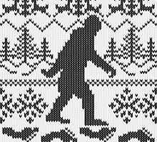 Gone Squatchin Ugly Christmas Sweater Knit Style by Garaga