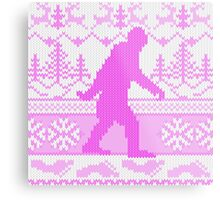 Gone Squatchin Ugly Christmas Sweater Knit Style Metal Print