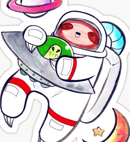 Watercolor Astronaut Sloth Sticker
