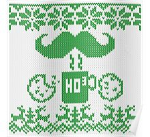 Santa's Stache Over Green Midnight Snack Knit Style Poster