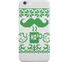 Santa's Stache Over Green Midnight Snack Knit Style iPhone Case/Skin