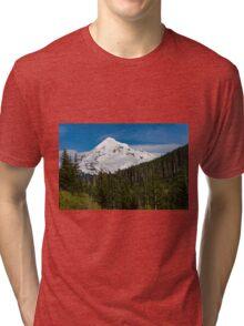 Snow covered Mount Hood Tri-blend T-Shirt